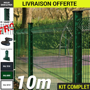 Kit grillage rigide : Grillage rigide poteau H PRO vert 10m