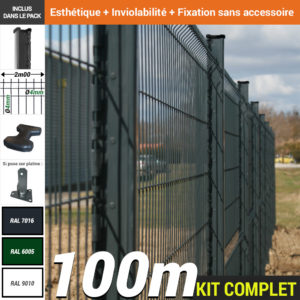 Kit grillage rigide : Grillage rigide poteau H gris 100m