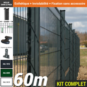 Kit grillage rigide : Grillage rigide poteau H gris 60m
