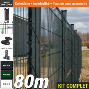 Kit grillage rigide : Grillage rigide poteau H gris 80m
