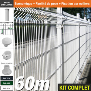 Kit grillage rigide : Grillage rigide poteau rond blanc 60m