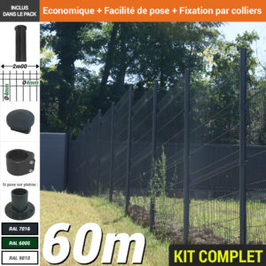 Kit grillage rigide : Grillage rigide poteau rond gris 60m