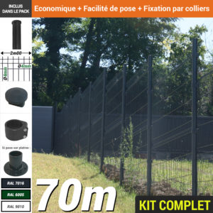 Kit grillage rigide : Grillage rigide poteau rond gris 70m