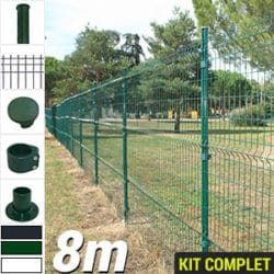 Kit grillage rigide : Grillage rigide poteau rond 8m
