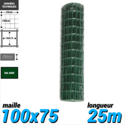 Grillage souple : Grillage soudé 25m hauteur 100cm