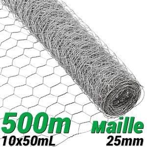 Pack longueur 500m maille 25mm grillage rouleau triple torsion galva toulouse lyon paris toulon