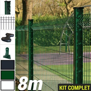 Kit grillage rigide : Grillage rigide poteau H vert 8m