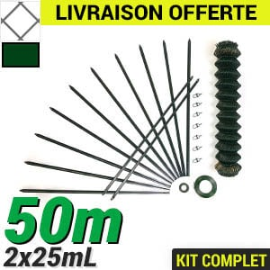Pack grillage rigide simple torsion 50m maille losange 50x50