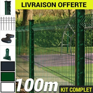Kit grillage rigide : Grillage rigide poteau H vert 100m