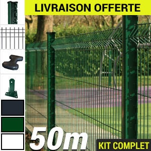 Kit grillage rigide : Grillage rigide poteau H vert 50m