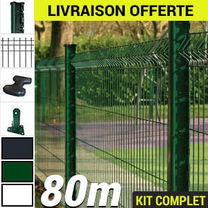 Kit grillage rigide : Grillage rigide poteau H vert 80m