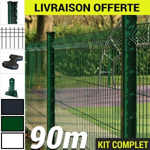 Cloture en kit grillage rigide longueur 90metres vert blanc gris