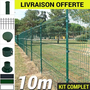 Kit grillage rigide : Grillage rigide poteau rond 10m
