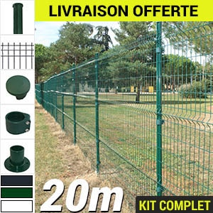 Kit grillage rigide : Grillage rigide poteau rond 20m