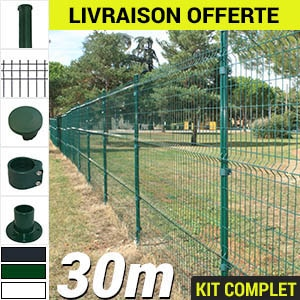 Kit grillage rigide : Grillage rigide poteau rond 30m