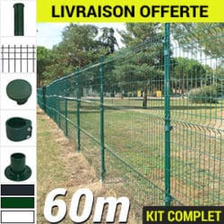Kit grillage rigide : Grillage rigide poteau rond 60m