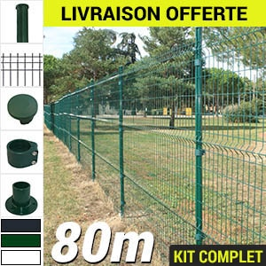 Kit grillage rigide : Grillage rigide poteau rond 80m