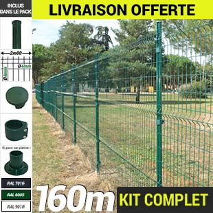 Kit grillage rigide : Grillage rigide poteau rond 160m