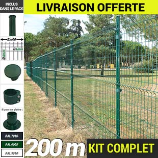 Kit grillage rigide : Grillage rigide poteau rond 200m