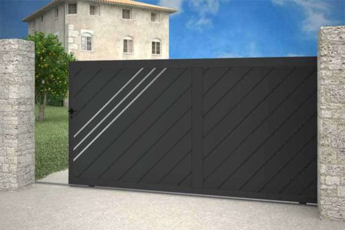 Portail Milan coulissant gris anthracite