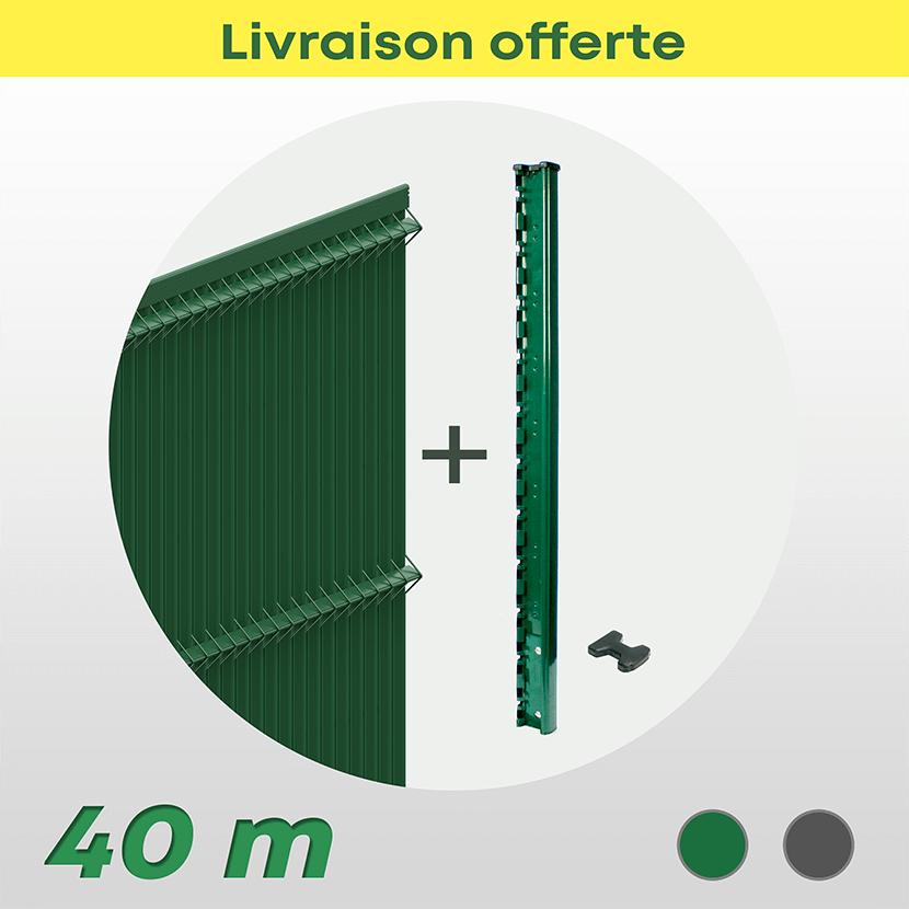 Kit Grillage Rigide Et Occultant Pvc (40 M)